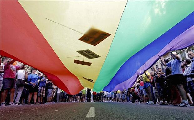 Una bandera desplegada durante el Gay Pride 2014 en Barcelona. / Público.es.,
