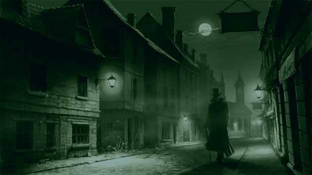 Recreación del Londres nocturno de finales del s. XIX,