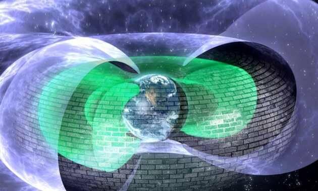 Representación artística del escudo protector / Andy Kale,escudo Tierra