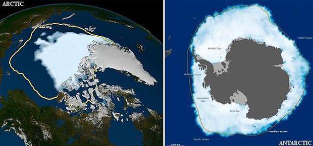 <p> Imagen satelital del &Aacute;rtico y la Ant&aacute;rtida. (Fuente: NASA).</p> ,