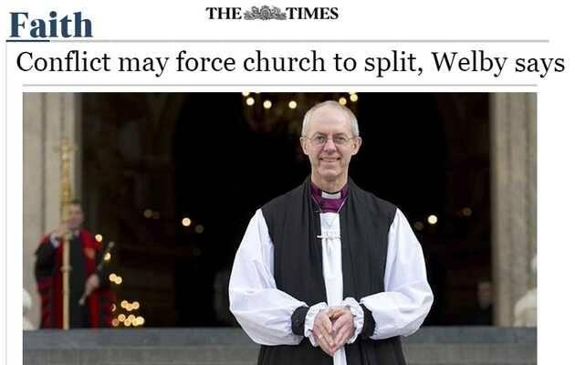 La portada de la noticia de Justin Welby en The Times,Justin Welby