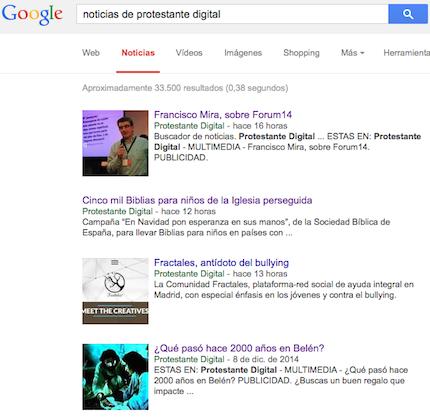 Protestante Digital, presente en Google Noticias.