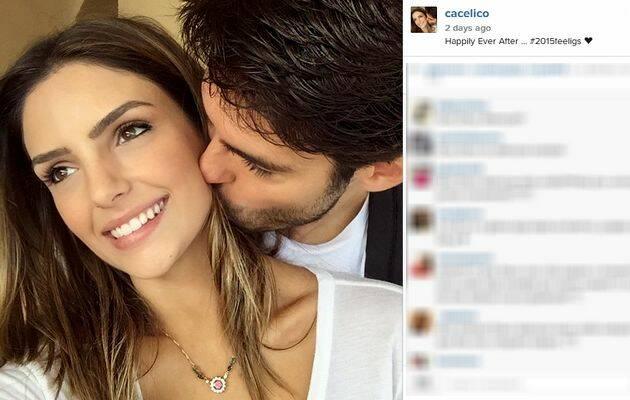 Kaká besa a Carol Celico / diciembre de 2014, Instagram,Kaká, Carol Celico