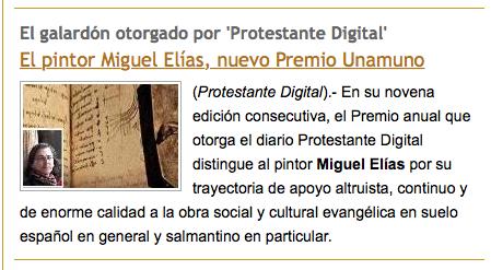 El Premio Unamuno a Miguel Elías, en otros medios