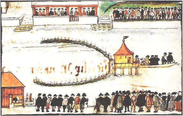Martirio de Félix Mantz, mediante ahogamiento en el río Limmat, el 5 de enero de 1527. Dibujo de Heinrich Thomann.,felix mantz