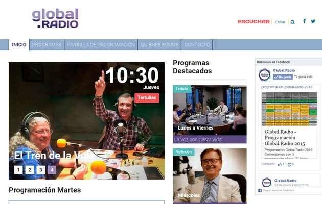 Portada de la web de Global.Radio,Global.Radio, emisora evangélica, radio evangélica