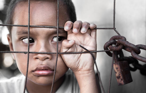 Imagen de campaña contra la esclavitud sexual.,