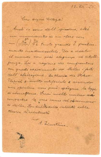La carta de Einstein a G. Giorgi
