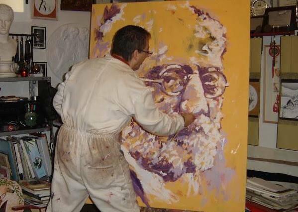 Miguel Elías, pintando un retrato de Unamuno.,Miguel Elías
