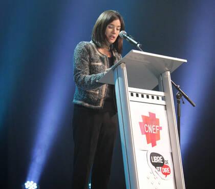 Lefèvre, hablando sobre libertad y laicidad, durante la asamblea del CNEF.
