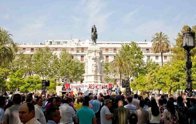 Una imagen de la celebración en Plaza Nueva (Sevilla) / Koinonía,evangélicos, Sevilla