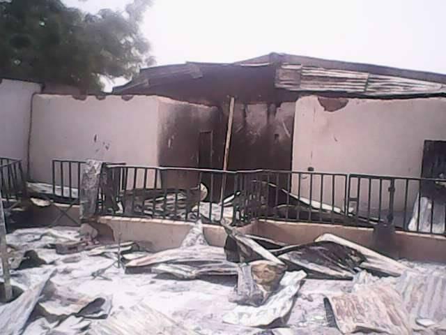 La iglesia bautista de Rogo, tras el ataque. / NGpost,