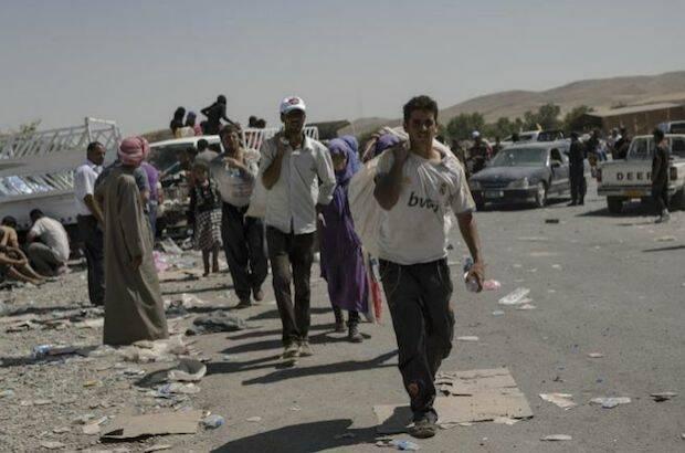 Refugiados en Erbil, Irak.,