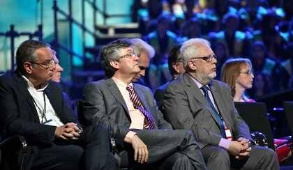 Jaume Llenas (AEE), Mariano Blázquez (Ferede) y Guillem Correa (CEC). / MGala