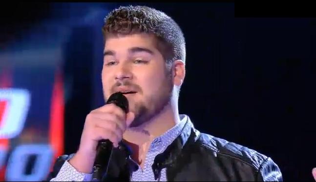 Marcos Martins, en su actuación en La Voz, Telecinco. ,
