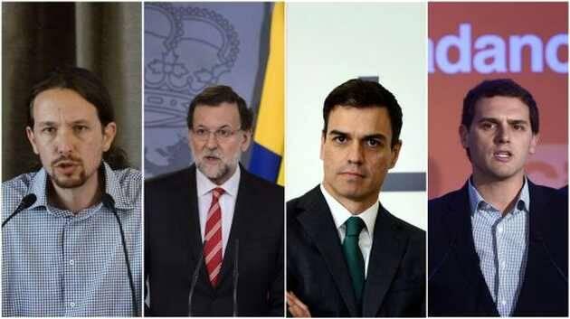 P. Iglesias, M. Rajoy, P. Sánchez y A. Rivera (de izda. a dcha.),políticos españoles, partidos políticos