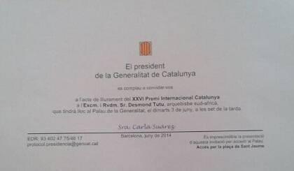 Invitación para el acto entrega del Premio Internacional de Cataluña 2014. Foto: C. Suárez