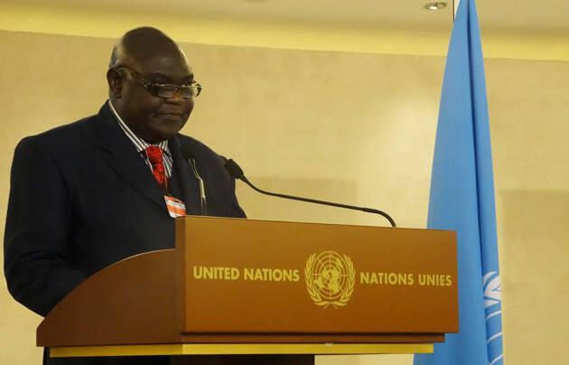 El pastor Nicolas Guerekoyame-Bangou, presidente de la Alianza Evangélica de la República Centroafricana y uno de los impulsores de la Plataforma de Paz Interconfesional, en la entrega del premio en Ginebra. / WEA,Nicolas Guerekoyame-Bangou