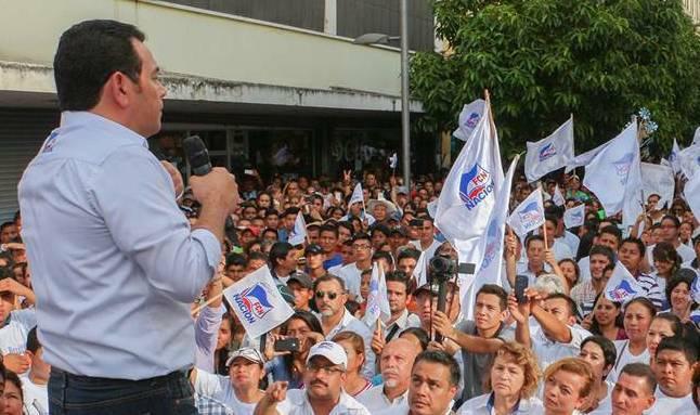 Jimmy Morales, en campaña en Guatemala.,jimmy morales