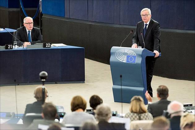 Jean Claude Juncker, en su discurso de este 9 de septiembre sobre el Estado de la Unión Europea. / PE,