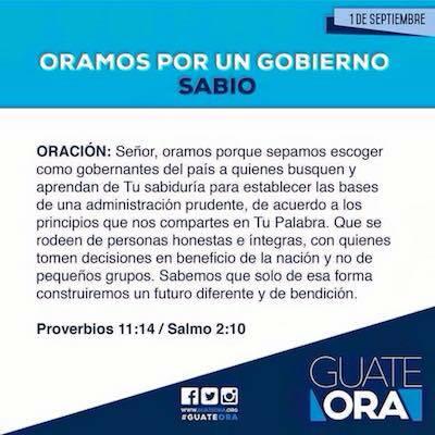 'Guate ora' es una de las iniciativas de los evangélicos en el país para fomentar la oración.