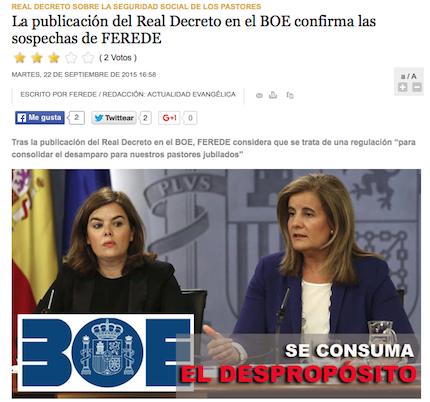 Actualidad Evangélica informa sobre la opinión de Ferede.