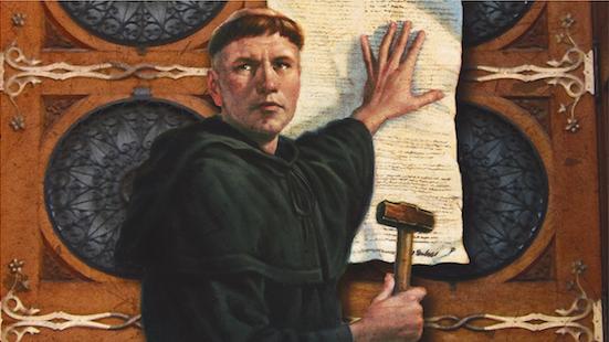 Lutero, clavando las 95 tesis en la puerta de la iglesia de Wittenberg.,