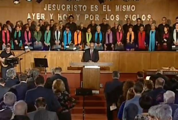 El culto de la Reforma en Madrid, este 31 de octubre de 2015. / TVE,