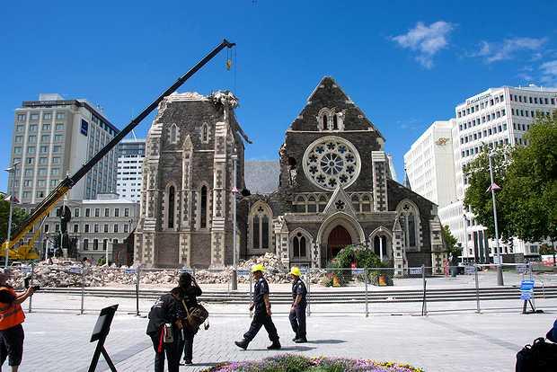 <p> La catedral anglicana de&nbsp;Christchurch, derruida tras el terremoto</p> ,
