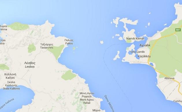 La embarcación se hundió entre Ayvacik (Turquía) y Lesbos (Grecia). / Catpura Google Maps. ,ayvacik, lesbos, google maps,