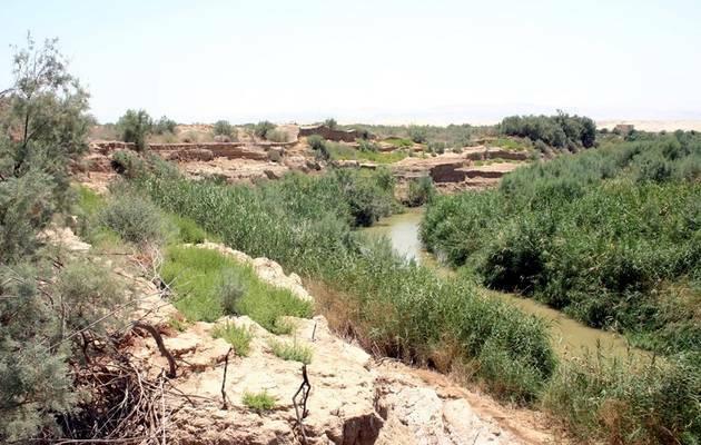 Una panorámica del lugar,río Jordán, bautismo Jesús