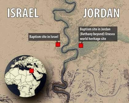 El mapa del lugar del bautismo de Jesús