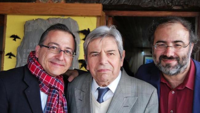 Miguel Elías, con los poetas António Salvado y Alencart. / Milola Gouveia, SalamancaRTV,poetas salamanca