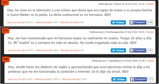 Tres mensajes encontrados en ADV. ,asco de vida, adv, foro, comentarios