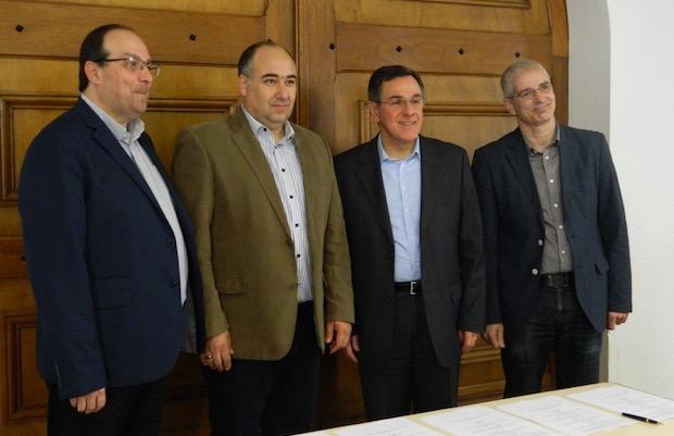 Los cuatro rectores de los seminarios, en el momento de la firma del convenio.,Asambleas de Dios seminarios