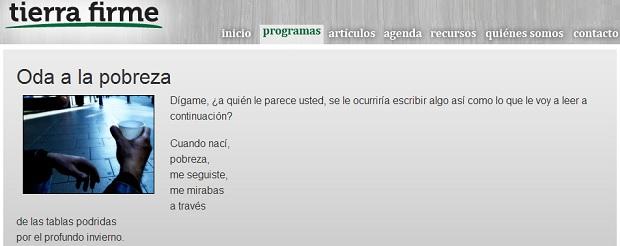 <p> Captura de pantalla de la p&aacute;gina web del programa <em>Tierra Firme.</em></p> ,