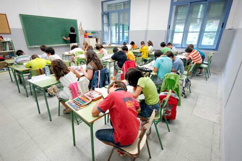 Aula de un colegio en España.,aula colegio españa