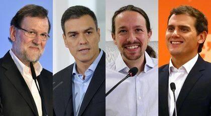 Mariano Rajoy, Pedro Sánchez, Pablo Iglesias, y Albert Rivera