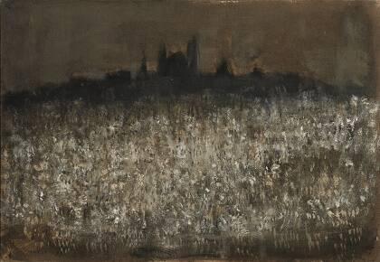 LA CITTÀ (PARIGI). Firmado (Music) y fechado en '97 (abajo a la izquierda); el título aparece en el reverso del lienzo. Óleo sobre lienzo. 60 x 81 cm.
