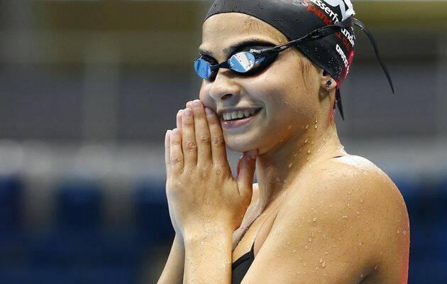 sYusra Mardini, tras ganar su serie en los 100 metros mariposa.,mardini