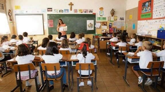 Aula de un colegio en España.,aula españa