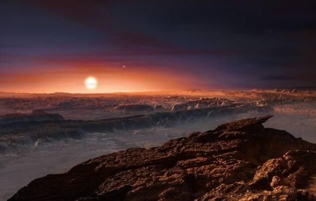 Aspecto que podría tener la superficie del planeta hallado. Al fondo, la estrella Próxima Centauri. AB. ESO / M. Kornmesser,Próxima Centauri, Próxima b
