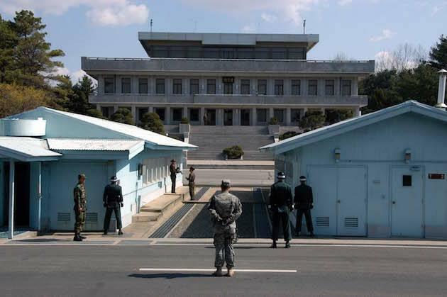 La frontera entre Corea del Norte y Corea del Sur.,