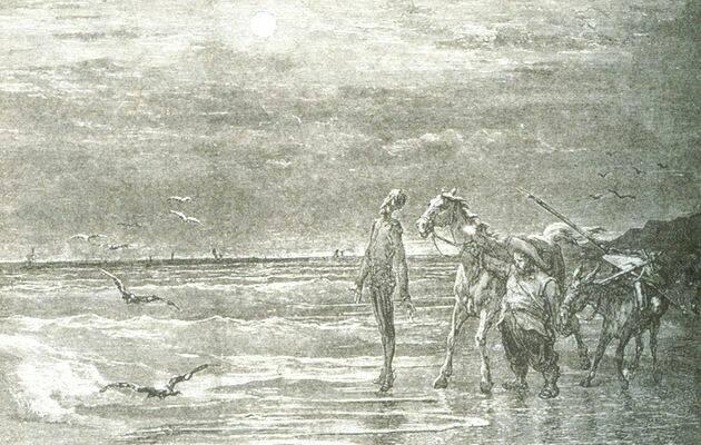 Ilustración de Don Qujote y Sancho Panza, junto al mar de Barcelona. ,Don Quijote de la Mancha