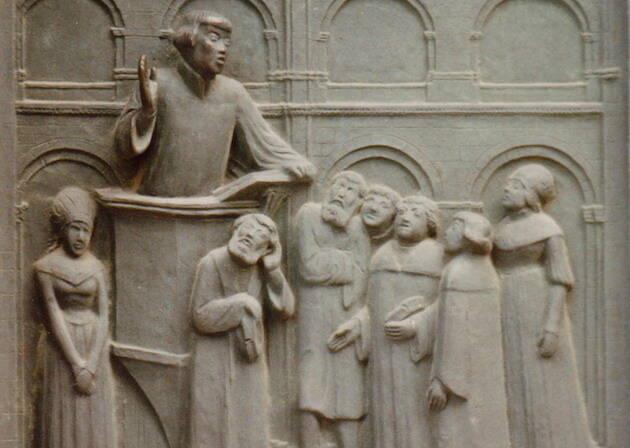Zwinglio en las puertas de bronce de Otto Münch (1935) en el Grossmünster en Zürich, Suiza. / Wikimedia,zwinglio
