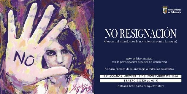 Portada y anuncio del acto sobre No Resignación.,