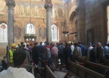 Interior de la Catedral, tras la explosión. / Egypt Daily News