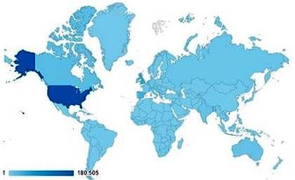 En azul (más intenso más visitas) países que accedieron a Evangelical Focus, 2015-2016 / Google Analytics