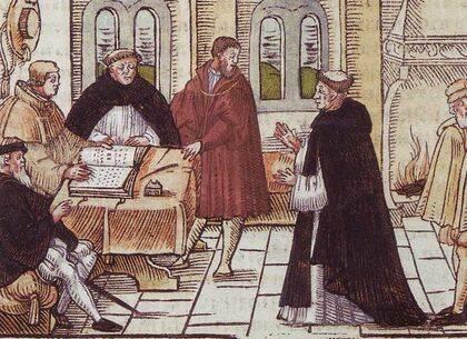 Encuentro del cardenal Cayetano con Lutero
