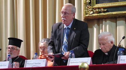 Manuel Sarrias, durante el acto. / Facultad Teología San Vicente Ferrer